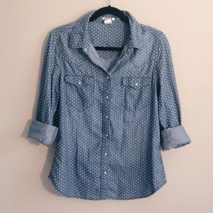 Levi's denim button up with white polka dots